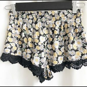 Forever 21 Black with floral print shorts